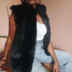 Vintage Black Faux Fur Vest